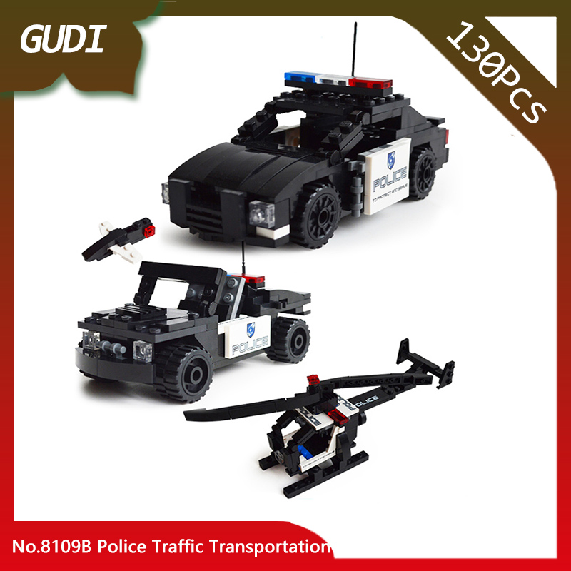 Doinbby Store 8109B 130Pcs Deformation Series Police Traffic Transportation Building Blo ...