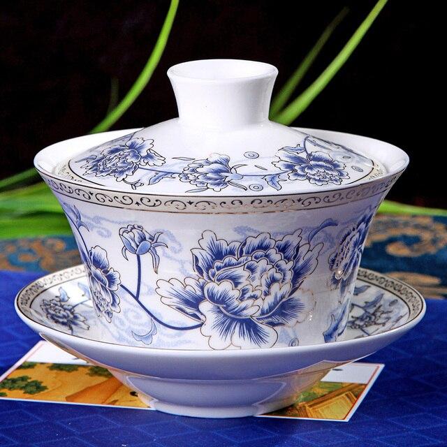 Chinese Tea Set Gaiwan PorcelainTraditional Kung Fu Tureen Ceramic Wedding Bowl