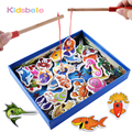 Wooden Fishing Toys Magnetic Set Fish Game Baby Early Intelligence Development Toy Learning Undersea World High Quality