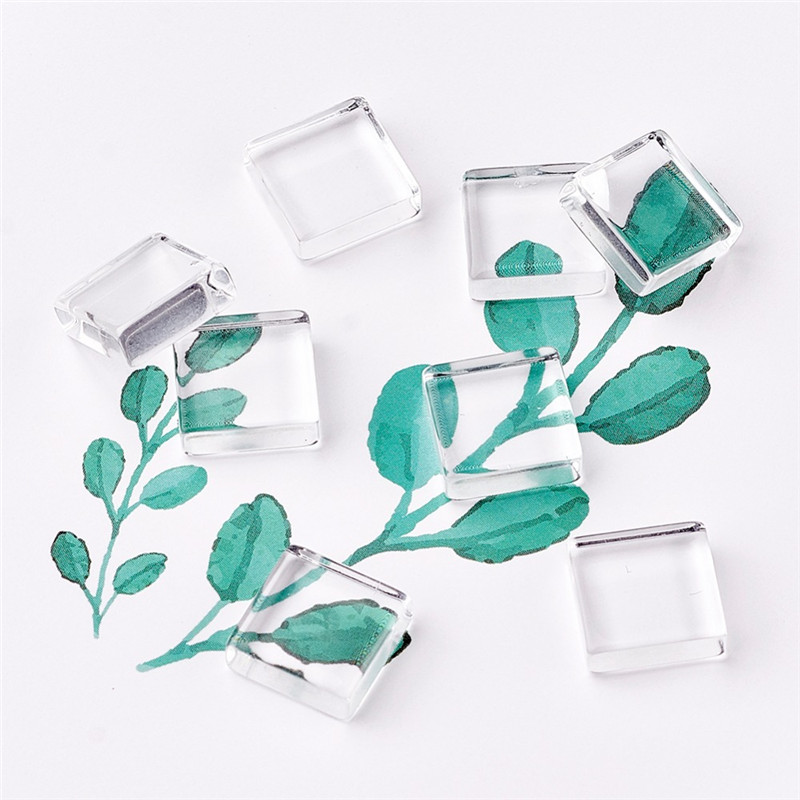 20pcs 10/15/20/25/30mm Transparent Glass Square Cabochons For Jewelry Making Accessories DIY Crafts F70