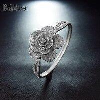 Dolaime Cyrkonia Srebrny Kolor Róży Kwiat Bransoletka Biżuteria Kobiet Wzrosła Wrist Band Hot GBG010