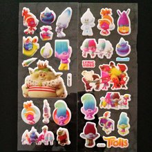 6PCS / lot Trolls Party Supplies Mixed Cartoon Bubble Stickers Children Kids Crtoon Stickers Decoration Birthday Gift