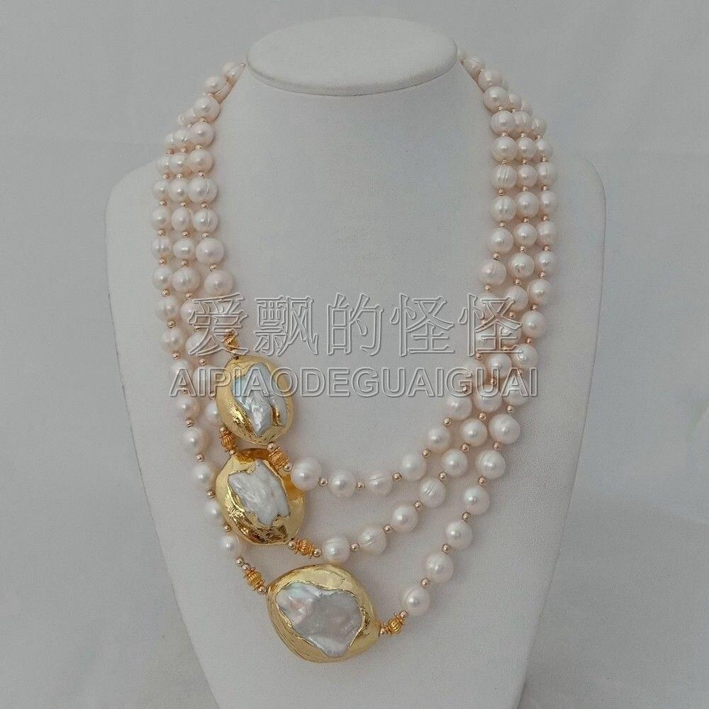 N010625 3 Brins 18 ''-21'' Blanc Perle 24 k Plaqué Or Keshi Perle Collier