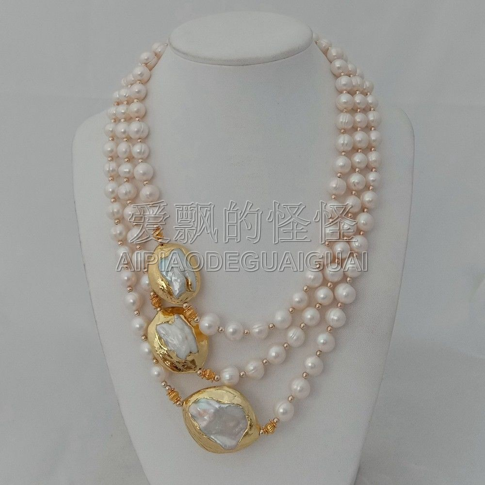 N010625 3 Strands 18''-21'' White Pearl 24 K Golden Plated Keshi Pearl Necklace kcchstar luxury dual pearl gold plated ring golden white us size 8