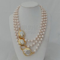 N010625 3 Strands 18'' 21'' White Pearl 24 K Golden Plated Keshi Pearl Necklace
