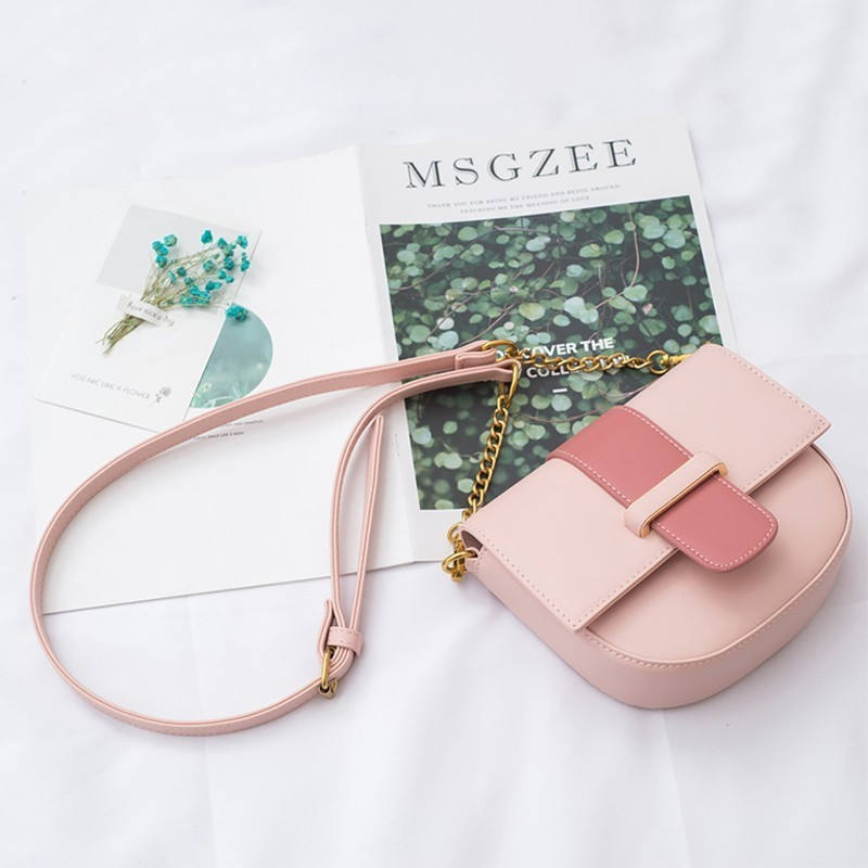 Ladies bag Messenger bag 2019 Ms Simple fashion Solid color bag Textured chain Shoulder bag Pink Beach bag Phone bag in Shoulder Bags from Luggage Bags