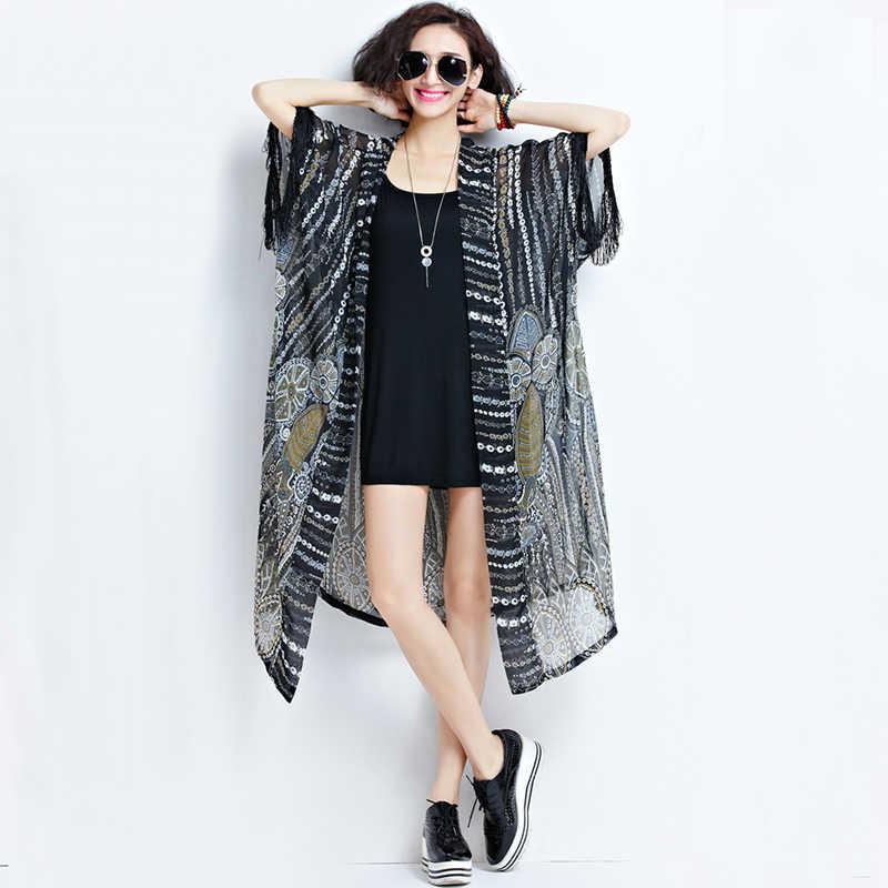 Kanifio более Размеры d Для женщин Шифоновая блузка плюс Размеры топ, футболка с длинными рукавами, с кисточками, кимоно, кардиган, защита от солнца крышка Женская туника Blusas