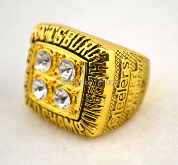 32e27419e Free shipping NFL 1974 1975 1978 1979 2005 2008 Pittsburgh Steelers Super  Bowl replica championship rings size 11 solid-in Rings from Jewelry    Accessories ...