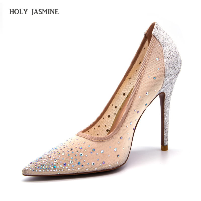 2018 New silver bling fashion design women's high heel pumps summer see through Party Wedding stiletto shoes 11cm thin heels