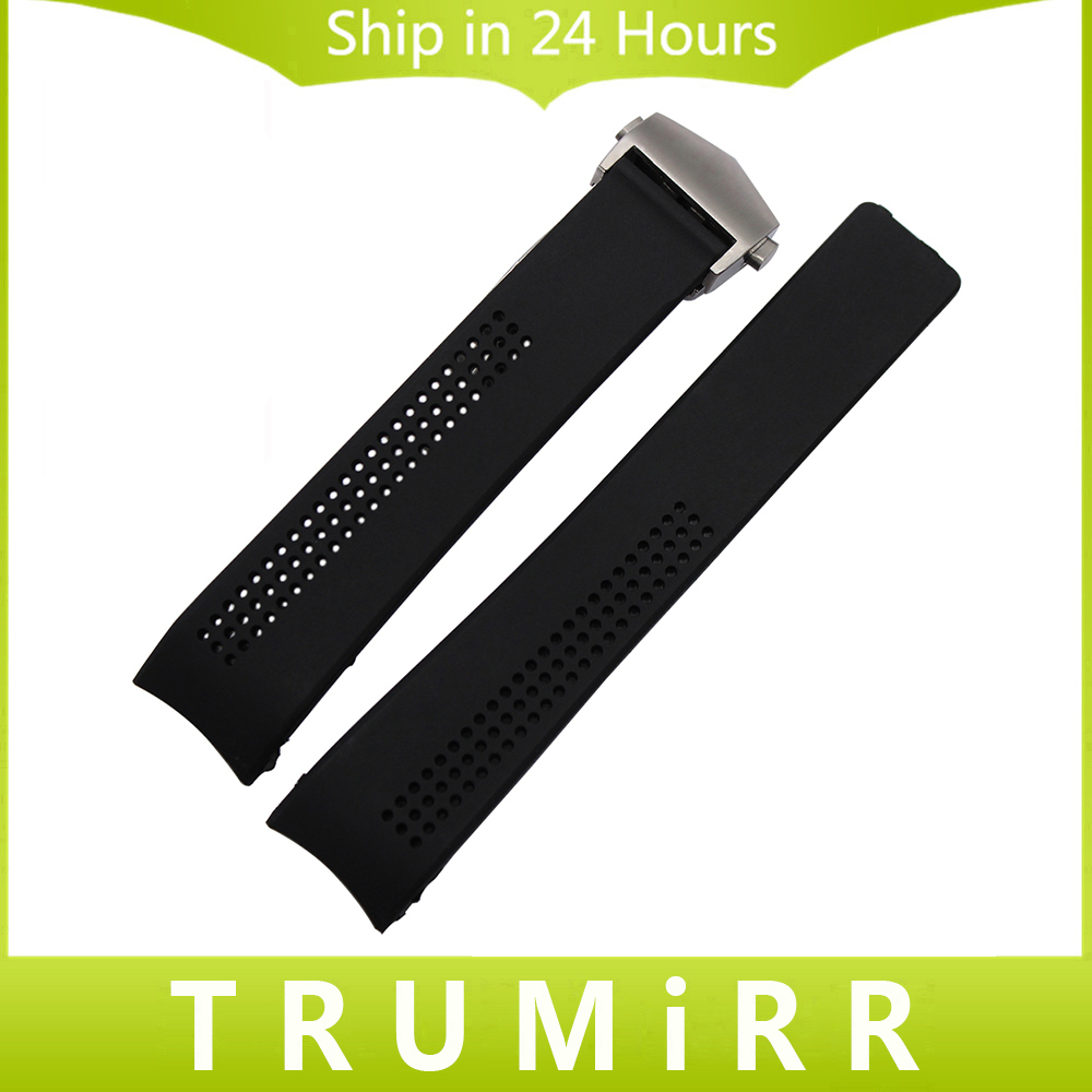 20mm 22mm Silicone Rubber Watchband for Carrera Curved End Watch Band Steel Butterfly Buckle Strap Wrist Belt Bracelet Black silicone rubber watch band 15mm 16mm 17mm 18mm 19mm 20mm 21mm 22mm for mido stainless steel pin buckle strap wrist belt bracelet