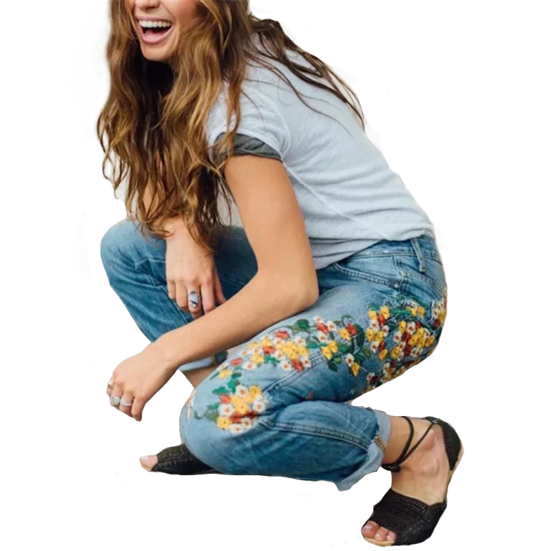 Autumn 2018 winter Yellow flowers birds embroidered waist jeans Basic Jeans Women Denim Pants Fashion Cowboy pencil pants women