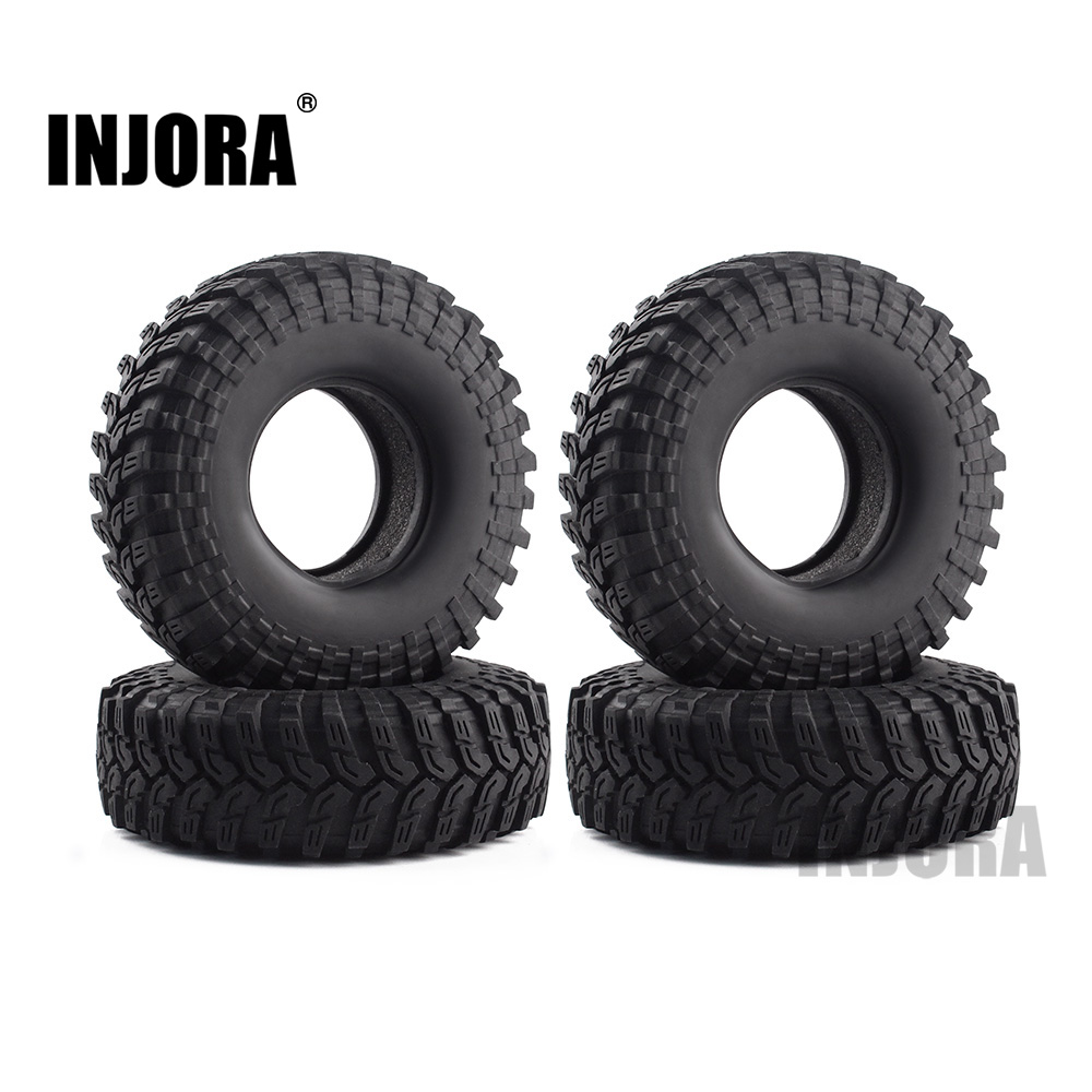INJORA 114*39MM 1.9 Rubber Wheel Tires for 1:10 RC Rock Crawler Traxxas TRX4 Axial SCX10 Tamiya CC01 D90 D110 4pcs rc crawler 1 10 wheel rims beadlock alloy 1 9 metal rims rock crawler wheel hub parts for rc car traxxas rc4wd scx10 cc01