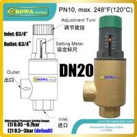 DN20 self-acting bypass water vlve en de inlaat is piped om de toevoerleiding en de uitlaat is piped om de terugkeer lijn