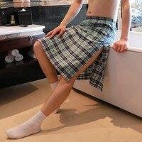 Fashion Men's Plaids Checks Pajamas Shorts Underwear Gay Underwear Nightdress Sleeping Pants Bathrobe