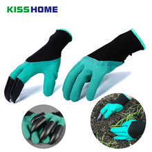 1 Pairs Garden Genie Gloves With 4 ABS Plastic Fingertips Claws Protective Insulation Outdoor Plant Dig Pick Labour Glove Tools цена