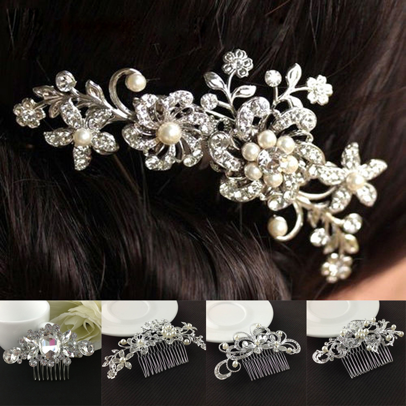 fashion women silver wedding pearls hairpins crystal vine bridal head wear hair accessories diamond headpiece 1Pcs Hair Combs Women Girls Bridal Wedding Crystal Rhinestone Pearls Flower Hair Clips Comb Hairpins Hair Accessories Headwear