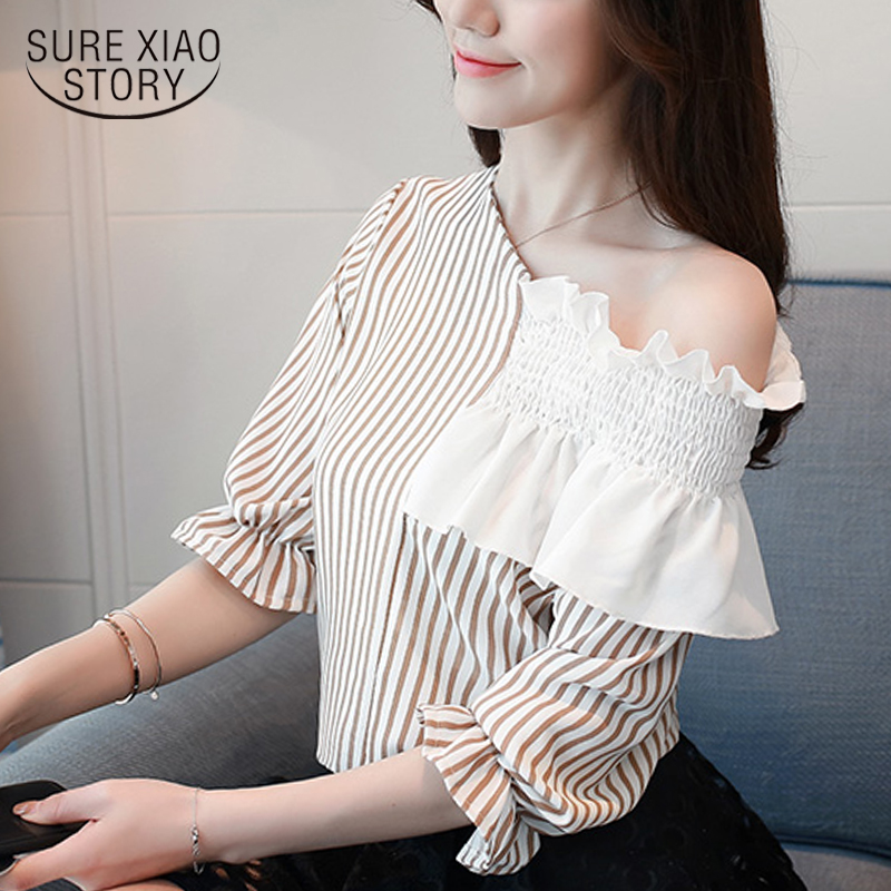 New 2018 Summer Sexy Stripe Casual Women   Blouse     Shirt   Plus Female Loose Slim Chiffon   Shirt   Shoulder Short Sleeve Tops 0641 40