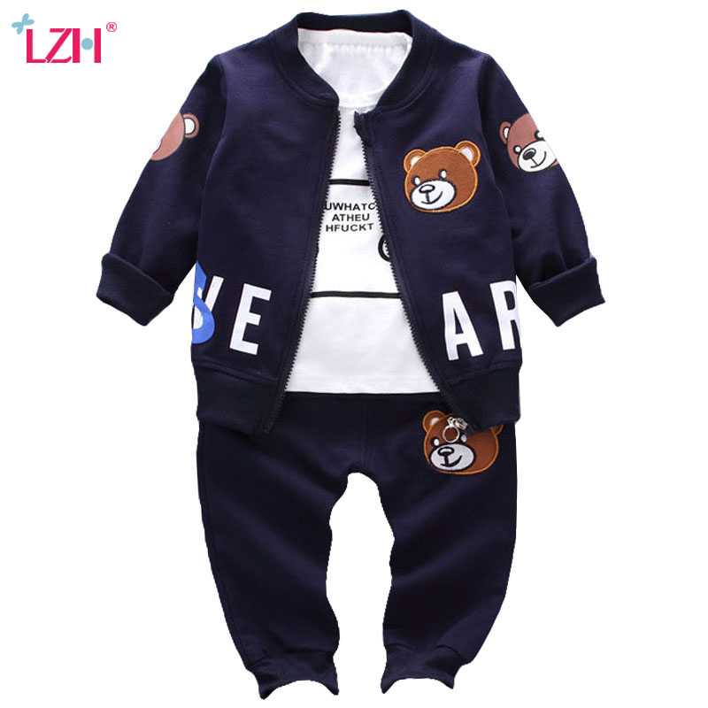 LZH Children Clothes 2017 Autumn Winter Boys Clothes Coat+T-shirt+Pants Christmas Outfits Kids Sport Suit For Boys Clothing Sets 3pcs children clothing sets 2017 new autumn winter toddler kids boys clothes hooded t shirt jacket coat pants