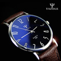 YAZOLE Brand 299 Mens Dazzle Blue Mirror PU Leather Band Quartz Watch Fashion Male Simple Slim Wristwatches 2016 New Free Ship