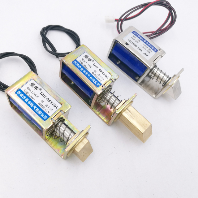 Linéaire solénoïde Cadre Ouvert type électro-aimant Serrures type TAU-S0837DL DC 6 V 12 V 24 V avec automatique réinitialiser le serrures pour la sûr