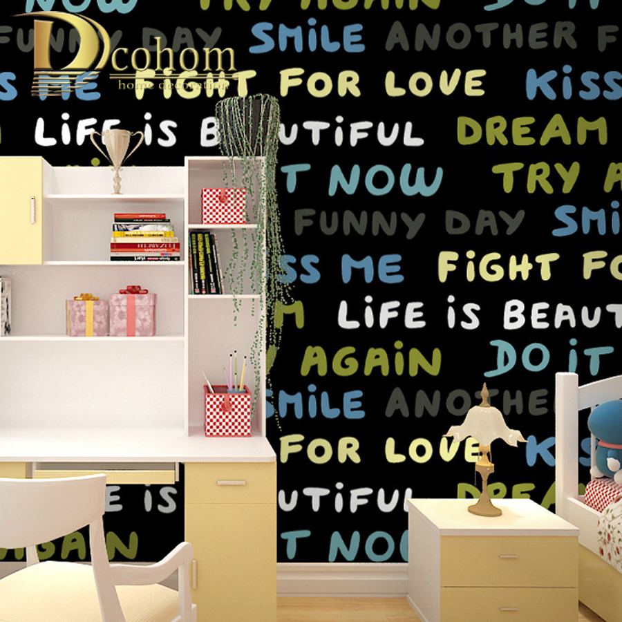 Cartoon Black Blue English Letters Wallpaper For Walls Decor Waterproof Vinyl Wall paper For Children Room  Girls Boys Bedroom
