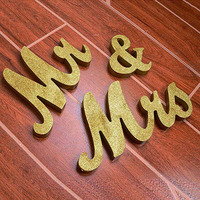 Glitter Natural Wooden MR&MRS Sign Wedding Sweetheart Table Decoration Ornaments Crafts Photo Props Party Decorationes