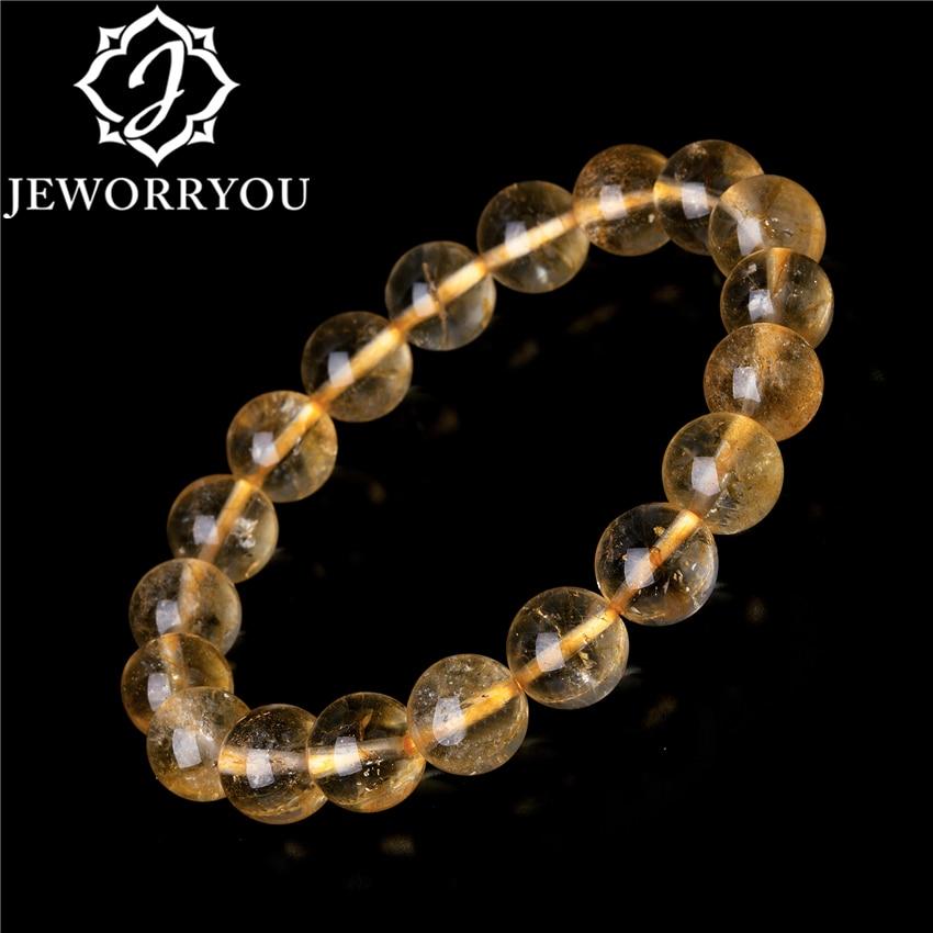 6 10mm Crystal Citrine Bracelets Natural Stone Bracelets For Women as a gifts Yellow Friendship Beads Innrech Market.com