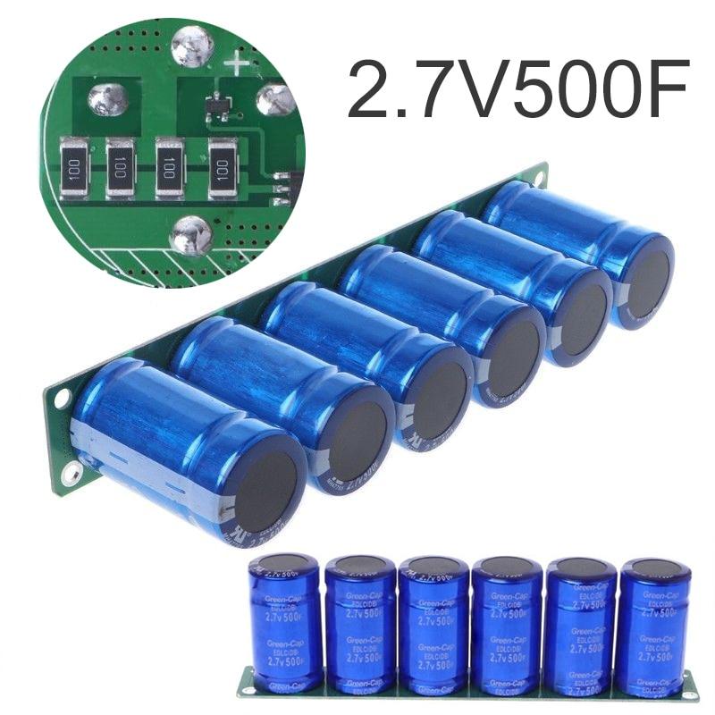 6 Pcs/1 Set Farad Capacitor 2.7V 500F Super Farad Capacitance With Protection Board
