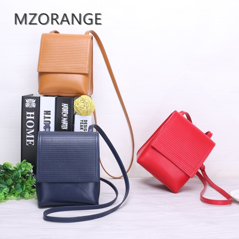 MZORANGE New Simple genuine Leather women Shoulder Bag handbag Fashion Brand Small Crossbody bag Lady Mini Clutch Bags 2018 2016 women fashion brand leather bag female drawstring bucket shoulder crossbody handbag lady messenger bags clutch dollar price