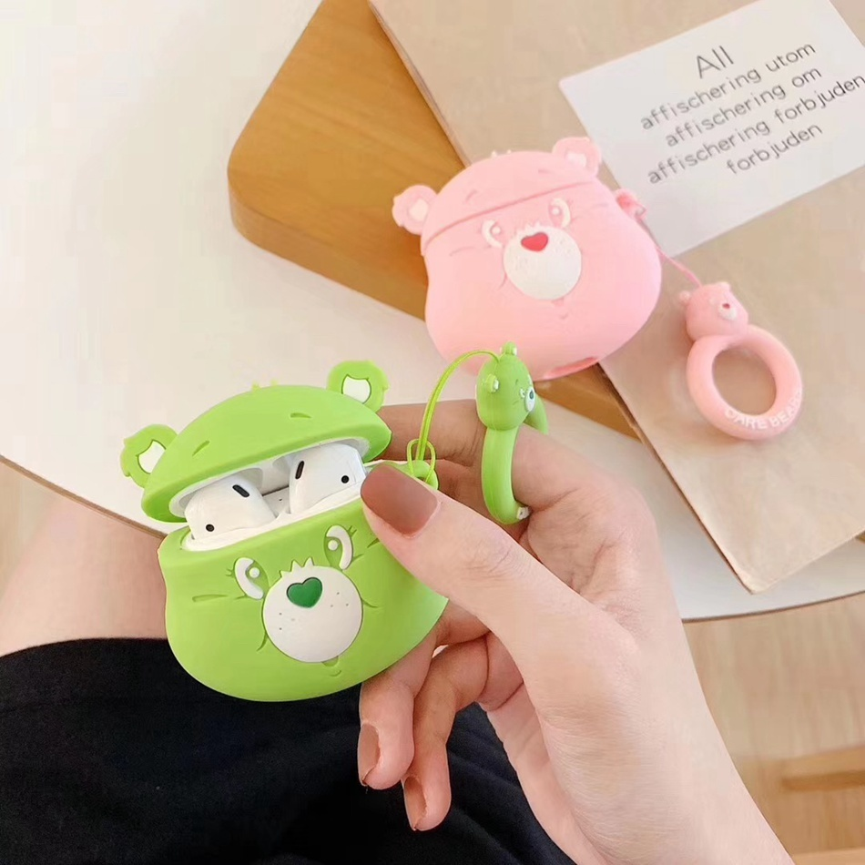 3D Earphone Case For AirPods 2 Case Silicone Cute Cartoon Camera Cover For Apple Air Pods Lovely Heart Earbuds Accessories Strap