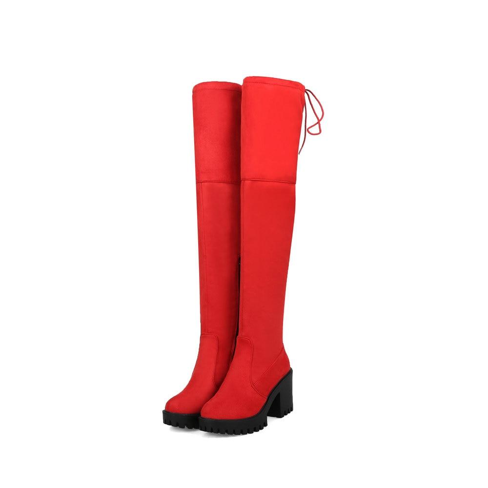 Pour Aiweiyi grey Bottes Peau Up red Femmes Haute Moto Talons Hiver Black Femme Carré Sur Troupeau Gris Lace Genou Noir Talon Chaussures Le 5rxYq1xXaw