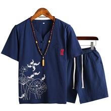 Men 2 Piece Set Cotton Linen Short Sleeve T-shirt + Short Print Men's Suit Summer Male V-neck Shirt Vintage Style Men Sets cotton linen leaves print shirt