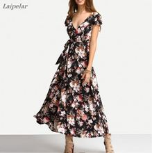 New Arrival Summer Fashion Short Sleeved V-neck Floral Print Maxi Dress Crossover Strap Back Sexy Beach Long Dresses Laipelar
