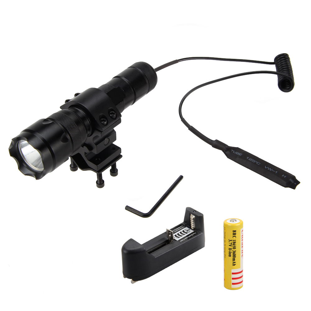 RED Infrared LED IR 850nm 5W Hunting Flashlight Torch Lamp+Remote Pressure Switch+Mount Gun+Charger+18650 anjoet led hunting flashlight 6000 lumens 3 x xml t6 5mode 3t6 torch light suit gun mount remote pressure switch charger