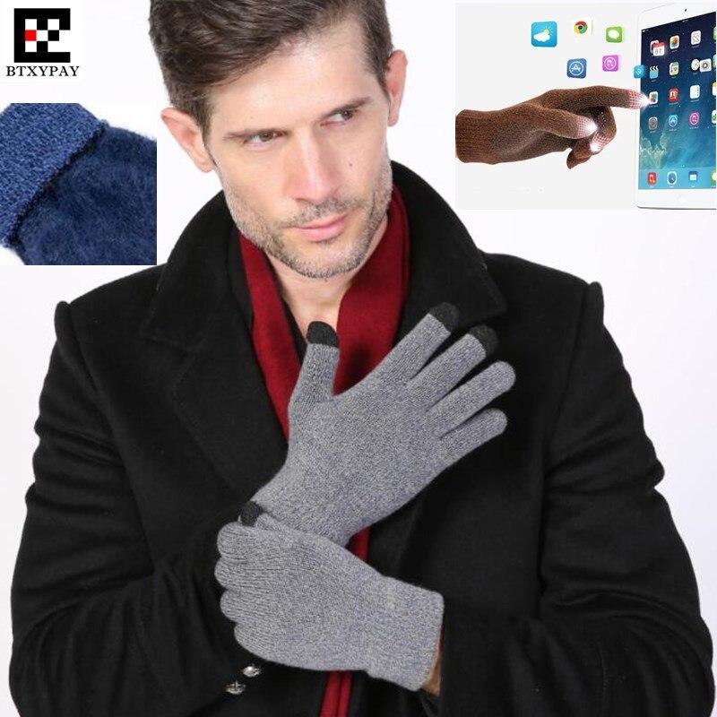 300 P! Топ Любители зимние спортивные теплые 3-палец Сенсорный экран Прихватки для мангала для iPhone/IPad смартфон, шерстяные вязаные Прихватки дл…