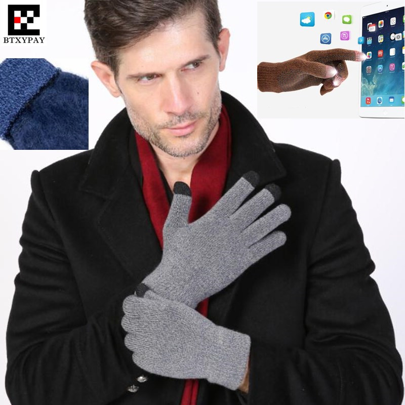 300p! Top Lovers Winter Sporting Warm 3-Finger Touch Screen Gloves For Iphone/ipad Smartphone,Woolen Knitted Gloves,Brushed Neri