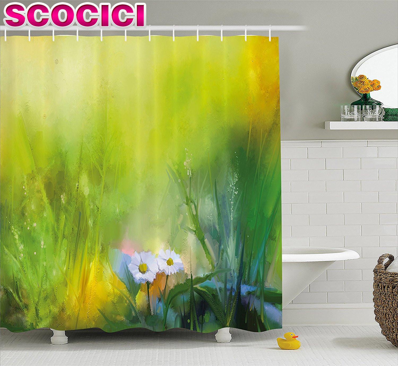 Aquarell Blumen Wohnkultur Duschvorhang Ölfarbe Drucken Mit Gänseblümchen  In Bereich Mit Verschwommen Effekte Stoff Badezimmer D..