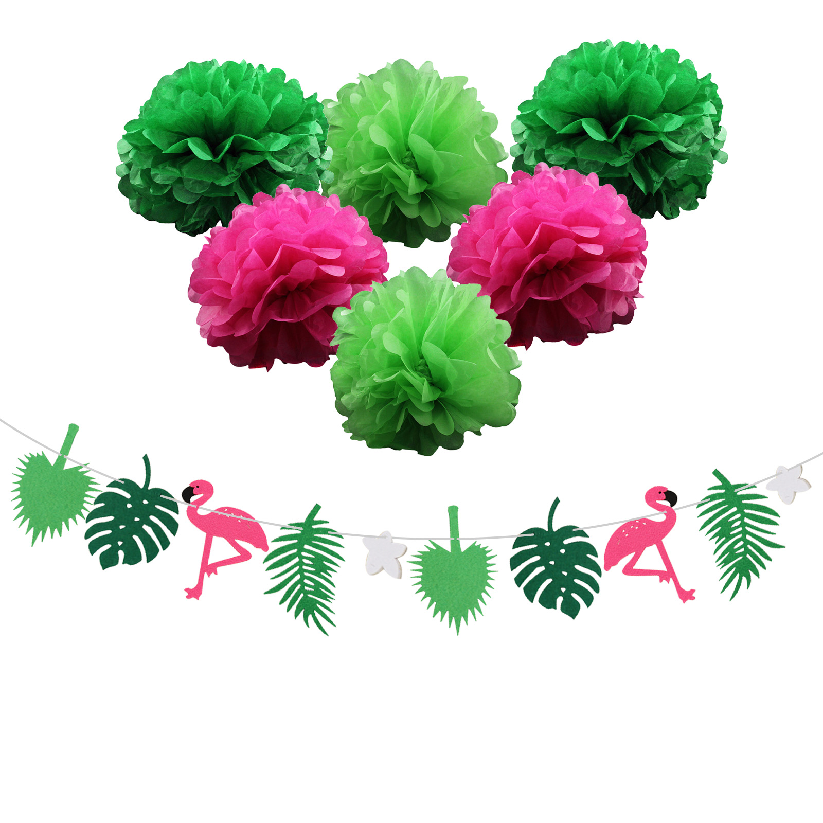 Hot Sale 1 Set Paper Flower Flamingo Garland Coconut Leaves Hawaiian