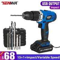 TENWA 20V Impact Cordless Drill Electric Screwdriver USB Output 13Pcs Drill Bit With Box LED LIGHT 1500mAh Battery Mini Drill