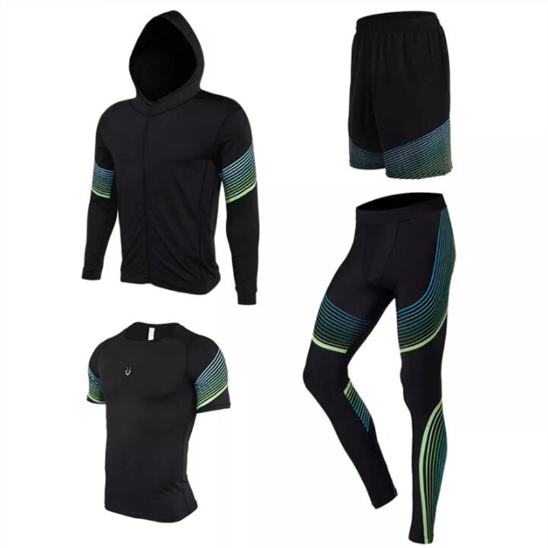 4 pieces Running Sets Men's Sportswear Compression Tights For Fitness Running Basketball Soccer Jersey jogging Gym Clothing 2017 autumn winter men s running sets 5 pieces compression fitness sports suits basketball tights clothes gym jogging sportswear