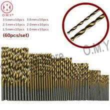 цена на OMY 60PCS 1/1.5/2/2.5/3/3.5mm Titanium Coated HSS High Speed Steel Drill Bit Set For Wood Plastic Twist Drill Bit Set Tool