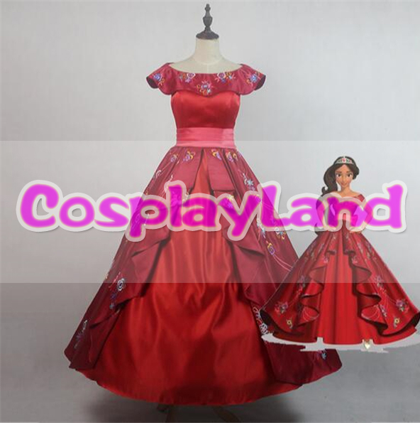 Elena of Avalor Princess Elena Cosplay Costume Red Embroidery Elena Dress Halloween Costumes for Adult Women Party Dress Custom