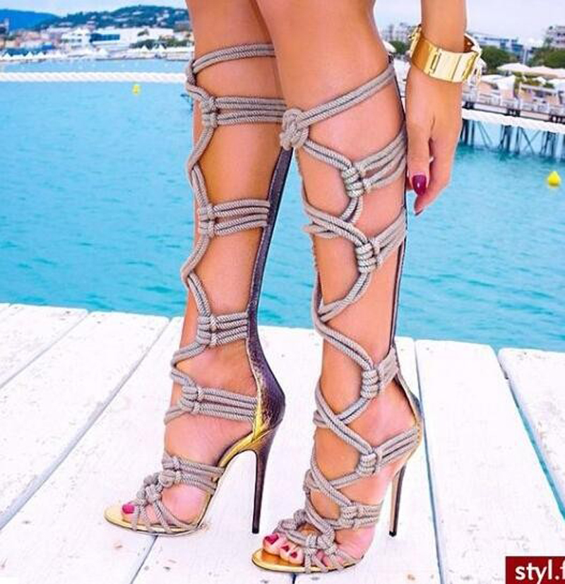 2017 Summer New Fashion Braided rope Cut out  Boots High Heel Sexy Over the Knee Boots Women Party Boots наборы для рисования cut the rope набор для рисования cut the rope мелки карандаши