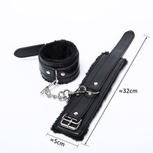 Adjustable Black Soft PU Leather Handcuffs For Sexy Ladies
