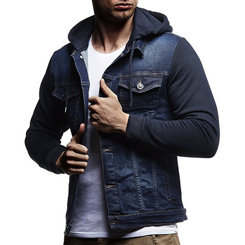 c23089d9f639 Detail Feedback Questions about New men s denim jackets Autumn Winter mens  Knitted sleeves Stitching Hooded Jeans coats male Solid color Single  breasted ...