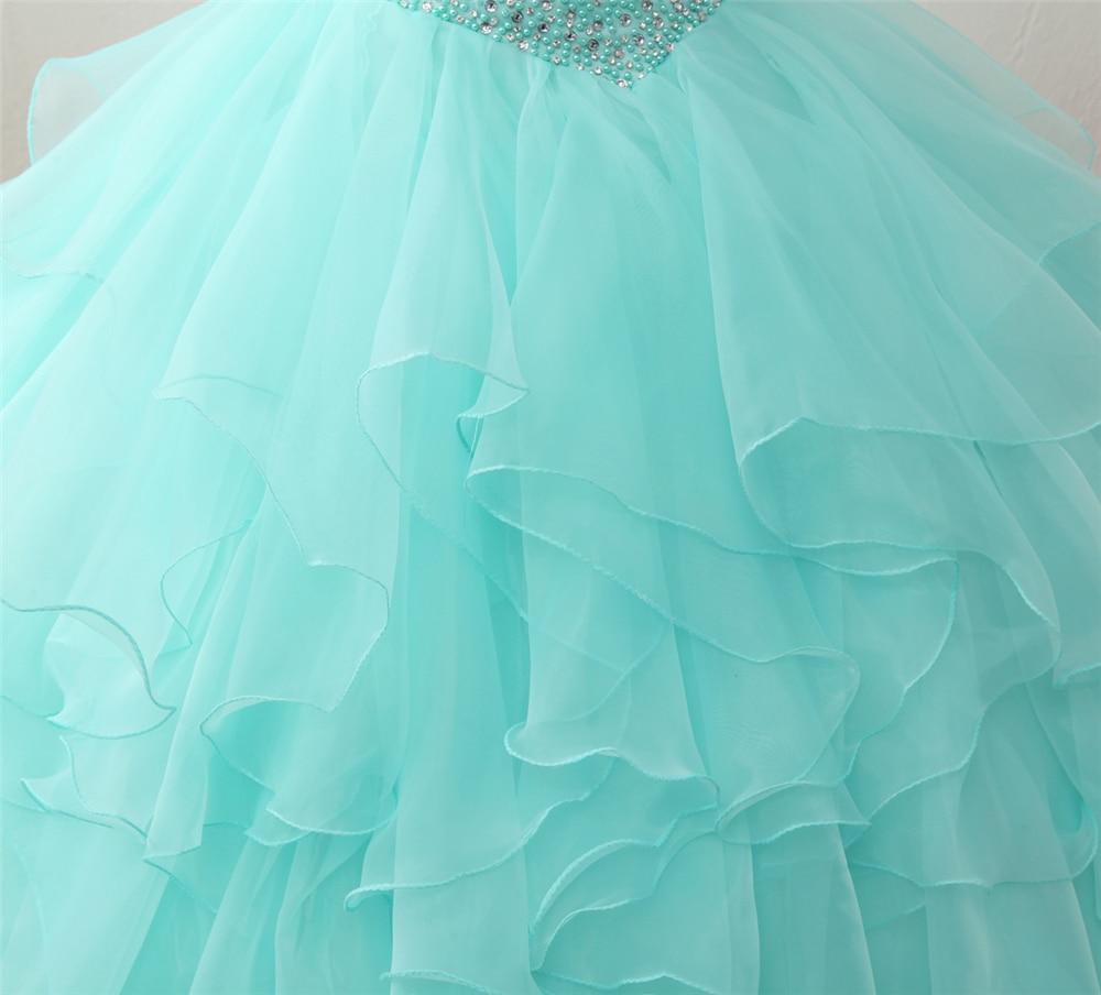 Bealegantom 2018 Yeni Gerçek Fotoğraf Nane Quinceanera Elbiseler - Özel Günler Için Elbise - Fotoğraf 5