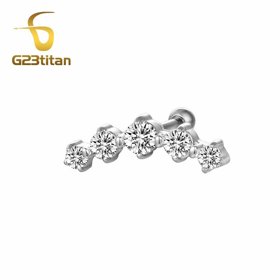 G23titan модные Серьги хряща пирсинг 5 кристаллы labret шпильки уха пирсинг козелка для Для женщин Украшения для тела ...