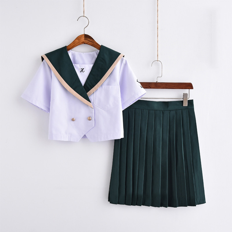 UPHYD Girls <font><b>Japanese</b></font> <font><b>School</b></font> <font><b>Uniforms</b></font> for JK Sailor Shirt+Skirt Preppy Style College <font><b>Sexy</b></font> Suit Skirt Female Cosplay Costume W73 image