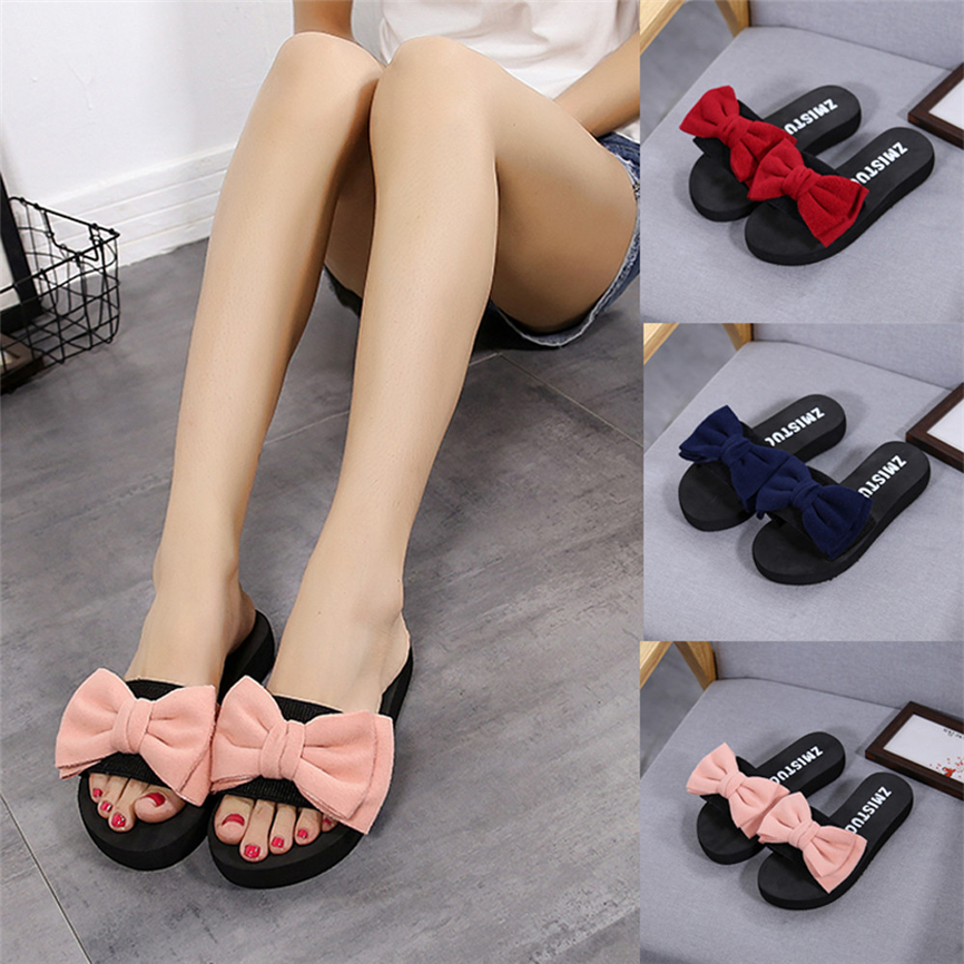 Ladies Women Bow Summer Sandals Slipper Indoor Outdoor Flip-flops Beach Shoes
