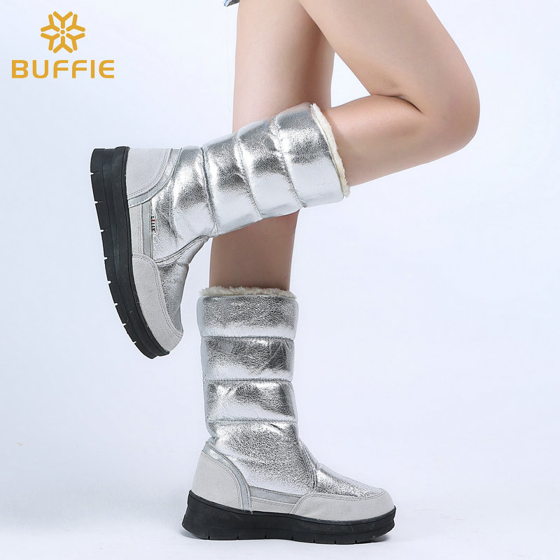 Image 3 - High Boots women winter shoes female style silver fashion colour full big size warm plush antiskid flat outsole Straight upper-in Knee-High Boots from Shoes